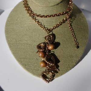 Women`s gold/copper tone heart bead chain necklace
